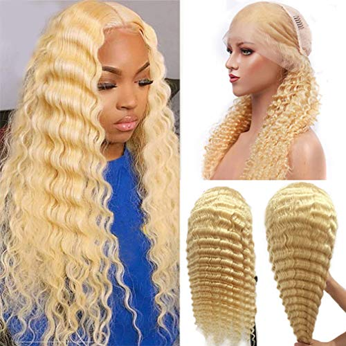 Blonde Virgin Human Hair Wigs Water Wave 20Inch 150% Ear to Ear Lace Frontal Wigs 13x4 Deep Part with Baby Hair Pre Plucked Natural Hairline Wet and Wavy Hair Wig Deep Wave Lace Wigs,Can Be Dyed