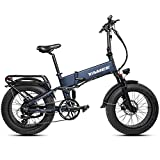 YAMEE Fat Bear 750W 48V Fat Tire Bike 4.0 Inch Folding Electric Bike Color Display Samsung 14.5AH Electric Bicycles Shimano 8 Speed Off-Road Bike Snow E-Bike(Blue)