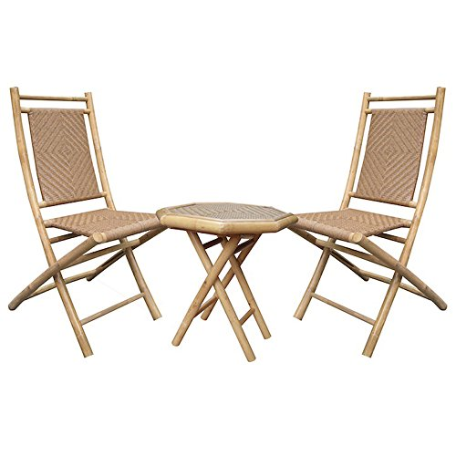 Heather Ann Creations 3-Piece Bamboo Bistro Set with Diamond Weave, Natural and Tan