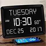 "11.5"" Large Alarm Clock for Bedroom, Calendar Day Clock, Impaired Vision Digital LED Kitchen Desk Wall Clock with Date,Temperature,5 Dimmer,3 Alarms,2 USB Chargers,DST,12/24 H for Elderly,Memory Loss"