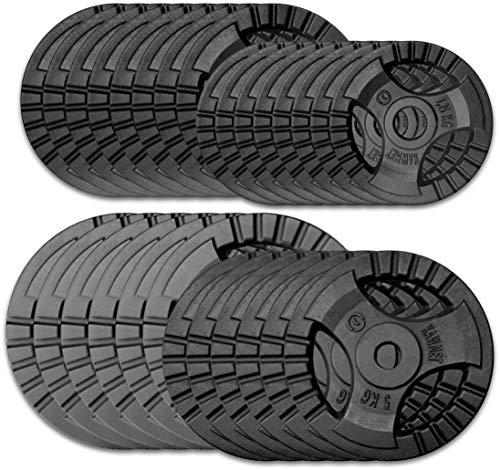 Hantelscheibe Gusseisen Platte Rad KAWMET Tri-Grip Design Hantel Gewichte 28,5mm - 1,25kg 2,5kg 5kg, 10kg 20kg (20)