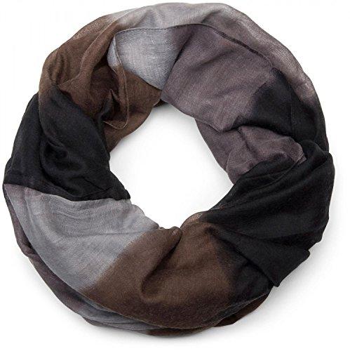 styleBREAKER Loop Schlauchschal mit Streifen Farbverlauf Muster, Unisex 01018097, Farbe:Braun-Schwarz-Grau