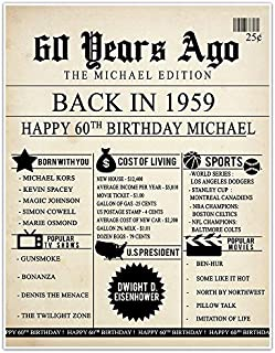 60th Birthday Newspaper Born in 1959 Stats Sign Photo Prop Poster