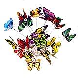 Hangarone Estacas de mariposa impermeables, 25 unidades, plantas de jardín al aire libre, maceta, decoración de mariposas de doble capa, decoración decorativa (color aleatorio)