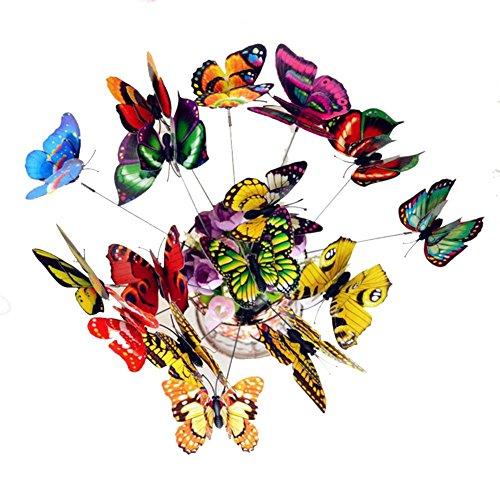 Seasaleshop 25 stuks waterdichte tuinplanten bloempot dubbellaags vlinders decoratie met metalen stick wanddecoratie voor tuin, balkon en terras