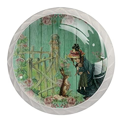 Linda chica, perillas de resina ilustración para cajones de armario, perillas decorativas para gabinete, armario, traje de cuatro piezas
