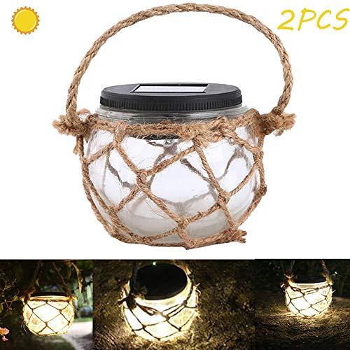 CBY Solar Light, LED Solar Garden Chandelier, Glass Rope Chandelier, Outdoor Warm White Garden Garden Lawn Decoration (2PCS)