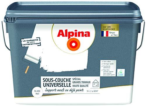 ALPINA Sous-couche universelle HAUTE QUALITE - Spécial Grands Travaux - Mat Blanc 5L 40m²