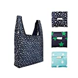 Reusable Shopping Grocery Bags Foldable, 3pcs Washable Grocery Tote with Pouch, 35LB Weight Capacity, Heavy Duty Shopping Tote Bag, Eco-Friendly Purse Bag Fits in Pocket Waterproof & Lightweight