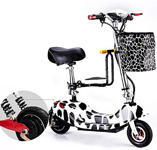 JXH Bicicleta Plegable eléctrico para Adultos, de 12 Pulgadas conmuta E-Bici con...