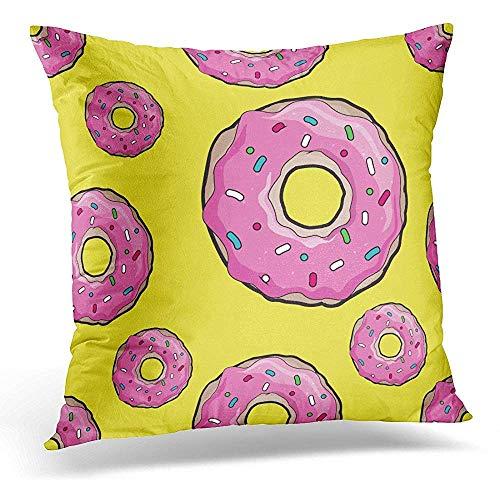 Asekngvo Funda de Almohada Decorativa Donuts con glaseado Rosa, patrón Amarillo para cafés, restaurantes, cafeterías, diseño de Catering para fo