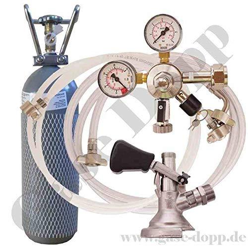 2 kg Co2 Flasche + C02 Druckminderer 1 leitig 3 Bar + Bier und CO2 Schlauch + Flach Keg - im Set für Bier Zapfanlagen/Durchlaufkühler / CO2 Flasche von Gase Dopp