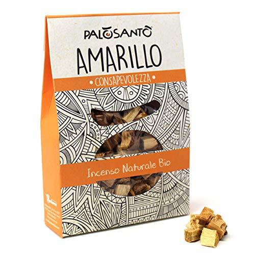 Palo Santo en Granos - Variedad Amarillo - 80 Gr - Incienso Natural chamánico Original para Quemar - Rituales, purificación, Aroma de Buen Humor, energía Positiva