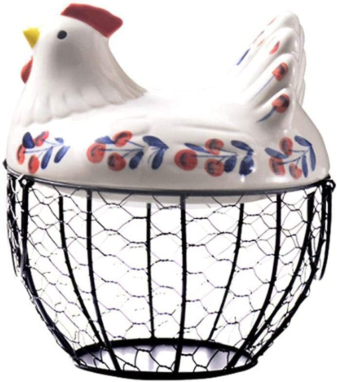 qiuqiu Ceramic Iron Egg Basket Ranking TOP16 Be super welcome Hen Decoration Bask Household