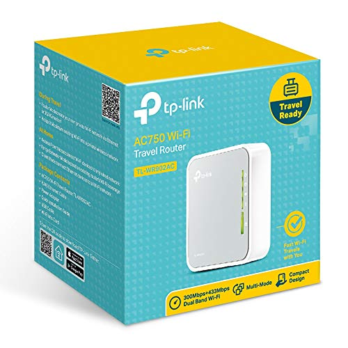 TP-Link TL-WR902AC AC750 WLAN Nano Router (433Mbit/s (5GHz) +300Mbit/s (2,4GHz) (tragbar, Accesspoint, TV Adapter, Repeater, Router, Client, Print, Media, FTP Server), weiß/ grau