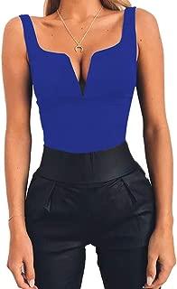 ZEVONDA V Cut Front Plain Sleeveless Bodysuit for Women Casual Backless Jumpsuit