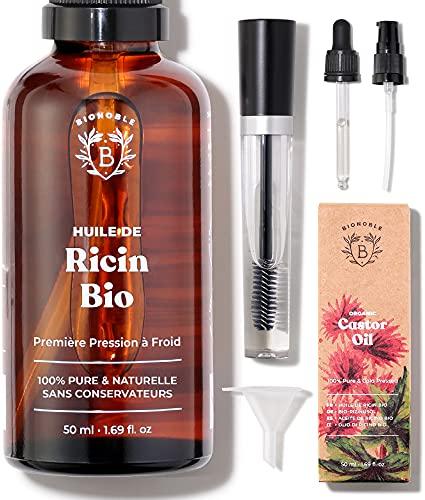 HUILE DE RICIN BIO   100% Pure, Naturelle & Pressée à Froid   Cils, Sourcils, Corps, Cheveux, Barbe, Ongles   Vegan Castor Oil   Bouteille en Verre + Pipette + Pompe + Kit Mascara (50ml)