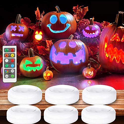 LUNSY RGB 6-Pack Wireless LED Puck Light