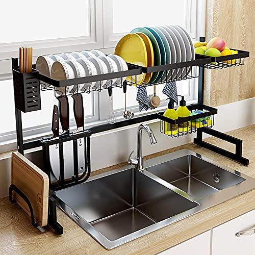 Multipropósito sobre el bastidor de secado del plato del fregadero, la rejilla de plato de acero inoxidable a prueba de óxido con el soporte de utensilio extraíble, para el almacenamiento del organiza
