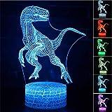 3D ilusión Velociraptor dinosaurio luz nocturna 3D luz nocturna, regalos para niños, decoración de cambio de color de 16, juguete para los fans del anime