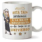 MUGFFINS Arquitecta Tazas Originales de café y Desayuno para Regalar a Trabajadores Profesionales - Esta Taza Pertenece a la Mejor Arquitecta del Universo - Cerámica 350 ml