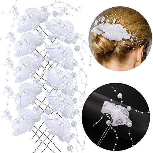Haarnadeln Hochzeit Brautperlen Kopfschmuck, MOOKLIN 10 Stück U-förmig Haarspange mit Kristallen Braut Haarschmuck, für Frauen und Mädchen, Kommunion Party, Hochzeit Braut Haarschmuck
