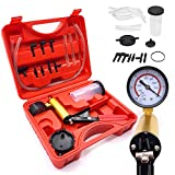 Queta 2 in 1 Brake Bleeder Kit Hand held Vacuum Pump Test Set with Vacuum Gauge, Adapters and Case for Vehicles Truck and Motorbike Diagnosis One Person Self Brake Exhaust Tester System Vacuum Tester