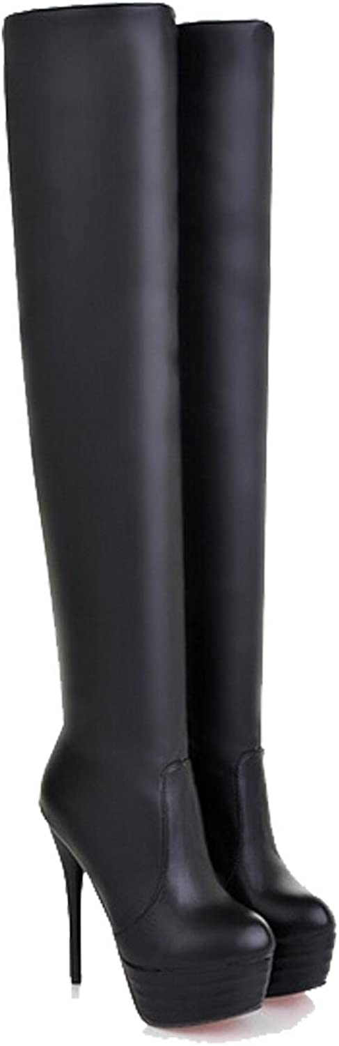 San hojas Over-knee Long Boot Thin Heel With Platform Black Leather Boot