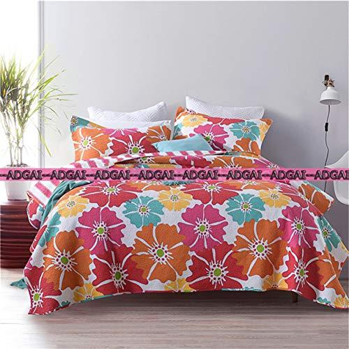 Ropa de cama acolchada étnico Patrón rosa grande rojo de las flores de algodón suave Mordern reversible Lanza Colcha Coverlets de Invierno de 3 piezas