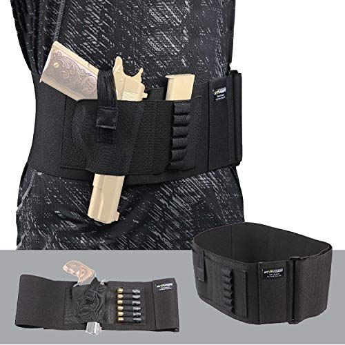 "Stinger Belly Band Holster for Concealed Carry, IWB OWB Gun Holster, Special Breathable Fabric Comfortable Waistband Handgun Holster, Ammo Bandolier for Extra Round of Revolver Bullet (46"", Right)"