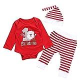 My 1st Christmas!3 Pezzi Baby Romper + Pantaloni + Cappello,Zolimx Bambino Bambina Ragazze Ragazzi Natale Santa Pagliaccetto A Righe Pantaloni Cappello Abiti Set,Regalo Di Compleanno, Regalo Di Natale