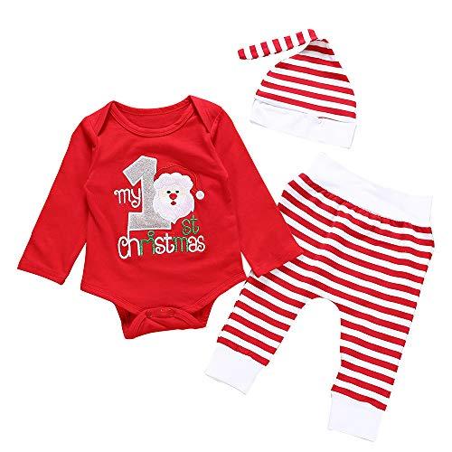 Fossen My First Christmas Disfraz Navidad Bebe niño niña Ropa de Conjunto Monos + Pantalones + Sombrero (6-12 Meses, Santa Claus)