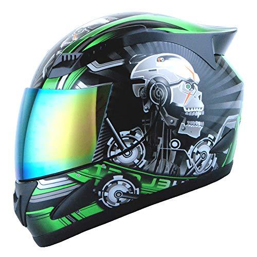1STORM Motorcycle Bike Full FACE Helmet Mechanic Skull - Tinted Visor Green Size XL (59-60 cm 23.2/23.4 Inch)