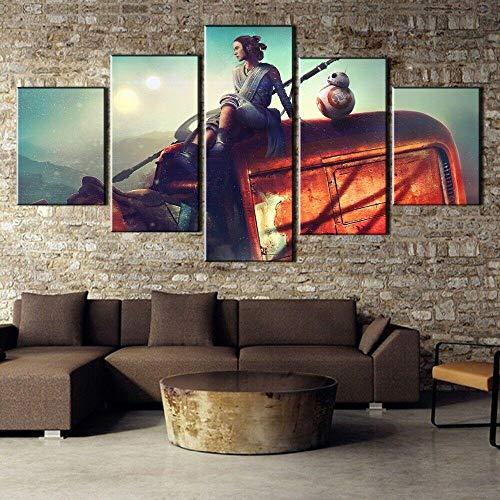 HJIAPO Cartel De La Película Painting 5 Piezas Cuadro sobre Lienzo Imagen Impresión Pinturas Murales Decor Dibujo con Marco Fotografía para Oficina Aniversario 150 * 80Cm