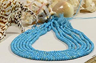 GemAbyss Beads Gemstone Sleeping Beauty Turquoise Beads Natural Gemstone Beads Jewelry Making Supplies 14 Inch Long inch Strand 4x2.5mm Code-MVG-43278