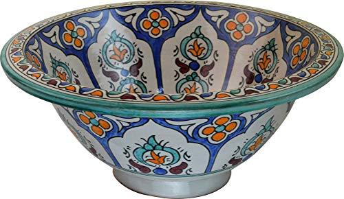 Orientalisches handbemaltes Keramik Waschbecken - Tetouan - Gemalt innen heraus Di 40 H 16 cm