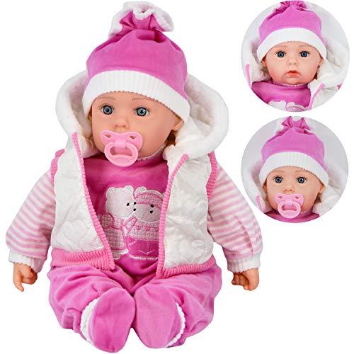 """20"""" Lifelike Large Size Soft Bodied Bibi Baby Doll Girls Boys Toy With Dummy & Sounds (White Coat)"""