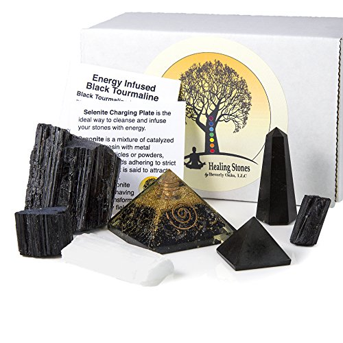 Beverly Oaks Charged Black Tourmaline Crystal Complete Kit - Tourmaline Stone for EMF Protection and Grounding (Deluxe)