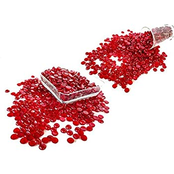 Rastogi Handicrafts Centerpieces, ,Glass Gems for Vase Fillers,Wedding Decoration Tiny, Small Pebbles One side flat 100 pcs (Red) 12 Millimetre Size