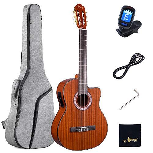 Winzz Konzertgitarre 4/4, Elektro-klassische Gitarre Cutaway 39 Zoll mit Eingebautem 4 Band EQ (Equalizer)
