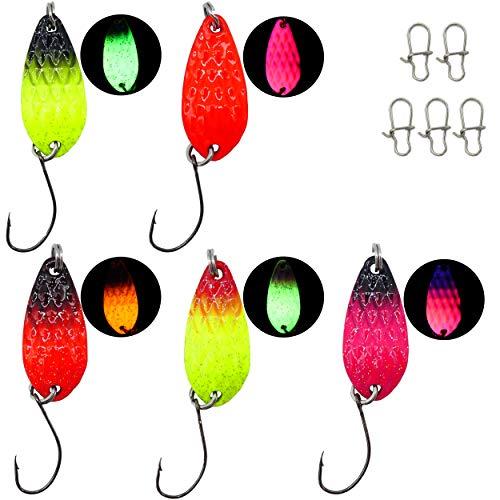 Paradox Fishing Forellen Spoon Set 5 Spoons 3g mit Box und 5 Snaps UV Forellenköder Set zum Forellen Angeln Forellen Blinker Forellen Köder Forellen Set Spoon Forelle - Spoons Forelle