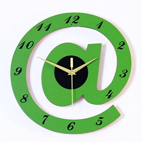 Horloge Murale de Bande Dessinée, Personnalité de Salon Creative Mode Mute L'Horloge Enfants Chambre Décorative Montres 30x30 cm ( Couleur : Vert , taille : 30cm )