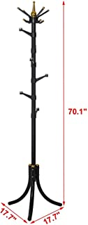 Standing Entryway Coat Rack Coat Tree Hat Hanger Holder 14 Hooks Jacket Umbrella Tree Stand Base Metal (Black)