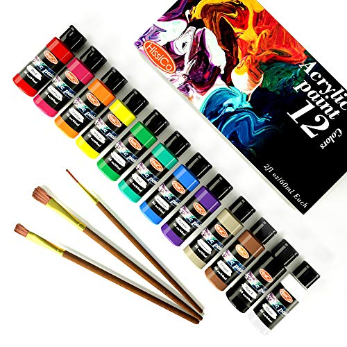Acrylic Paint Set of 12 Colors 2fl oz 60ml Bottles,Non Toxic 36 Colors Acrylic Paint No Fading Rich Pigment for Kids Adults Artists Canvas Crafts Wood Painting