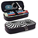 XCNGG Kosmetiktasche mit Federmäppchen Tunnel Spiral Optical EffectLeather Pencil case, Waterproof, Fashionable and Durable, can be Used for Students, Schools, Offices, Colleges