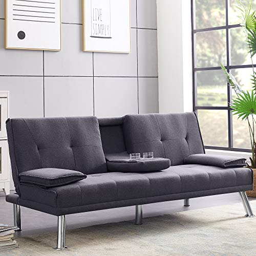 Convertible Futon Sofa Bedad Three-Angle Adjustable Backrest, Angelbee Modern Recliner Sleeper Sectional Couch for Living Room, Fold-Down Middle Armrest with 2 Cup Holders, Metal Legs