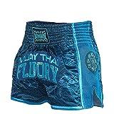 FLUORY - Short de boxe Muay Thai résistant à la déchirure,M,bleu foncé