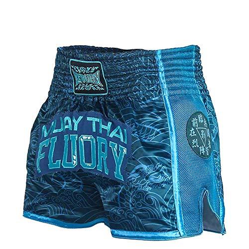 FLUORY Muay Thai Shorts, reißfeste Box-Shorts, MMA Fight Kick Kleidung für Männer Frauen Kinder Kampfsport Training Grappling-Dunkelblau-L
