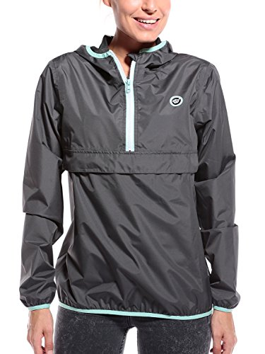 Woldo Athletic Regenponcho Damen Regenjacke für Schmuddelwedda Jacke - Mantel atmungsaktiv Winddicht Regenmantel mit Reißverschluss grau Small S