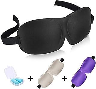 WISTOM Pack of 3 3D Sleep Mask Adjustable Eye Mask for Airplane Sleeping Side Eyemasks Blackout Eyeshade Eye Blinders Blindfold Eyepatch with Ear Plugs